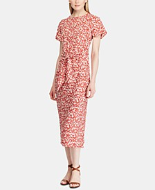 Petite Floral-Print Keyhole Crepe Dress
