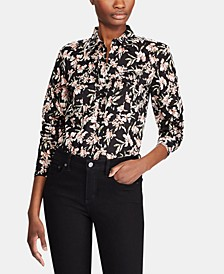 Petite Floral-Print Button-Down Cotton Shirt
