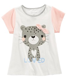 First Impressions Baby Girls Cotton Colorblocked Cheetah T-Shirt, Created for Macy's