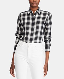 Petite Plaid-Print Lightweight Button-Down Cotton Shirt
