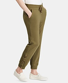 Petite Lace-Up Cotton Jogger Pants