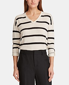 Lauren Ralph Lauren Roll-Sleeve V-Neck Sweater