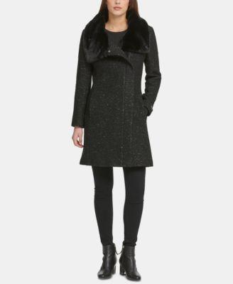 Petite Asymmetrical-Zip Faux-Fur-Collar Coat