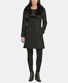 Petite Asymmetrical-Zip Faux-Fur-Collar Coat