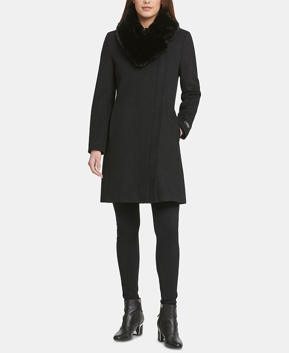 DKNY Petite Asymmetrical-Zip Faux-Fur-Collar Coat