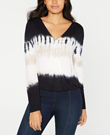 I.N.C. Petite Tie-Dye Surplice Top, Created for Macy's