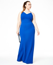 B Darlin Trendy Plus Size Lace-Back Gown, Created for Macy's