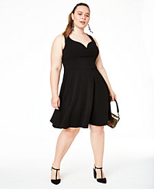 B Darlin Trendy Plus Size Open-Back Fit & Flare Dress, Created for Macy's