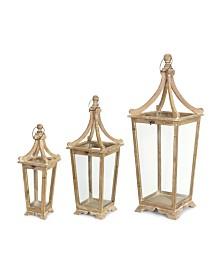Melrose International Lantern Set of 3 Wood Glass
