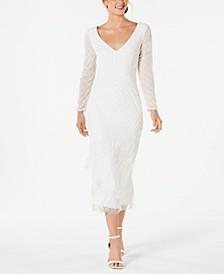V-Neck Beaded Fringe Dress