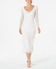 Adrianna Papell V-Neck Beaded Fringe Dress