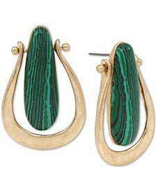 Gold-Tone Stone Sculptural Drop Earrings
