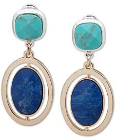 Anne Klein Two-Tone Multi-Stone Clip-On Drop Earrings