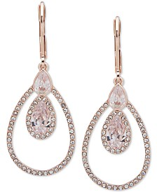 Anne Klein Rose Gold-Tone Crystal Orbital Drop Earrings