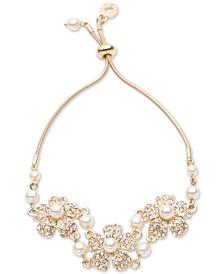 Gold-Tone Pavé & Imitation Pearl Flower Slider Bracelet