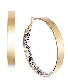 Thalia Sodi Gold-Tone Snake Print Hoop Earrings, Created for Macy's