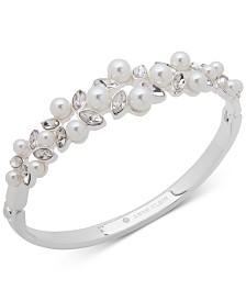 Anne Klein Silver-Tone Crystal & Imitation Pearl Bangle Bracelet