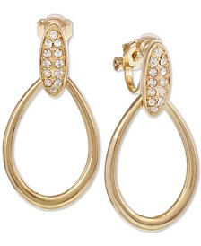 Laundry by Shelli Segal Gold-Tone Pavé Clip-On Drop Earrings