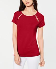 I.N.C. Grommet-Trim T-Shirt, Created for Macy's