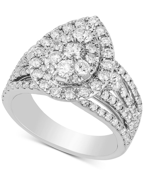 Macy's Diamond Teardrop Cluster Engagement Ring (2 ct. t.w.) in 14k White Gold