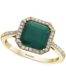 EFFY® Green Onyx (8mm) & Diamond (1/5 ct. t.w.) Statement Ring in 14k Gold