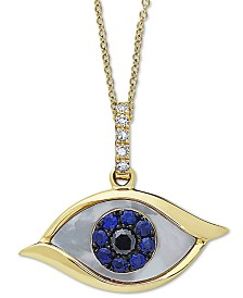 "EFFY® Mother-of-Pearl, Sapphire (1/10 ct. t.w.) & Diamond Accent Evil-Eye 18"" Pendant Necklace in 14k Gold"