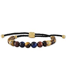 Esquire Men's Jewelry Multicolor Tiger's Eye Bead Bolo Bracelet in 14k Gold-Plated Sterling Silver, Created for Macy's