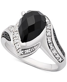 Onyx (10 x 7mm) & Diamond (1/10 ct. t.w.) Statement Ring in Sterling Silver