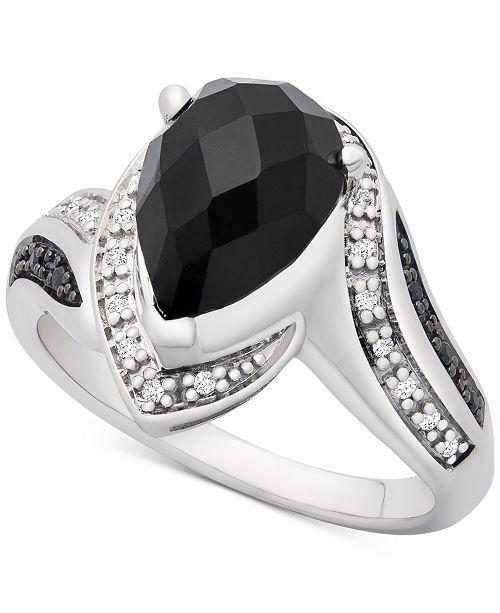 Macy's Onyx (10 x 7mm) & Diamond (1/10 ct. t.w.) Statement Ring in Sterling Silver