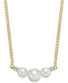 "Cultured Freshwater Pearl (5mm & 7mm) & Diamond Accent 16"" Collar Necklace in 14k Gold"
