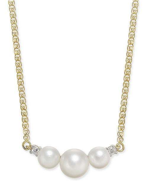 """Macy's Cultured Freshwater Pearl (5mm & 7mm) & Diamond Accent 16"""" Collar Necklace in 14k Gold"""