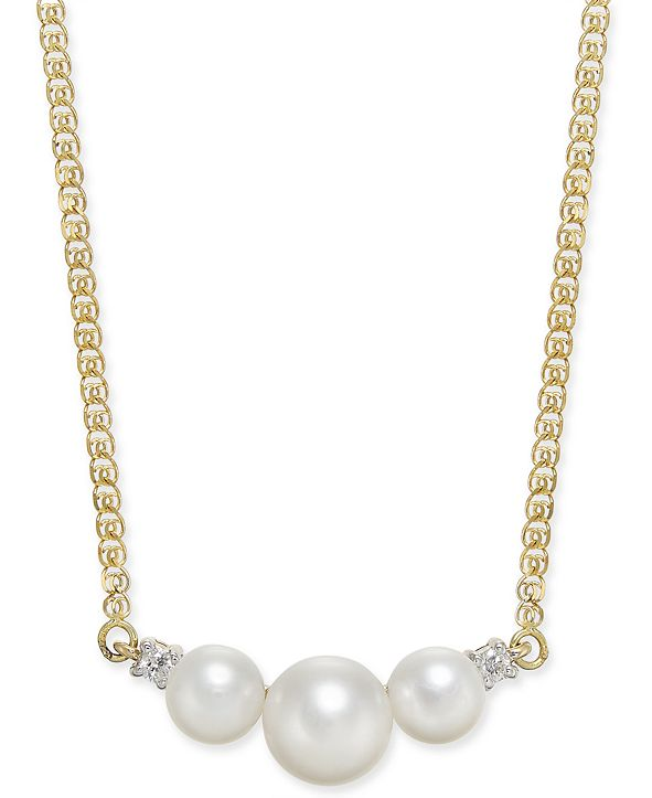 "Macy's Cultured Freshwater Pearl (5mm & 7mm) & Diamond Accent 16"" Collar Necklace in 14k Gold"