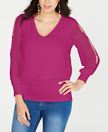 Thalia Sodi Split-Sleeve Top, Created for Macy's