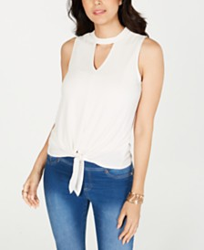 Thalia Sodi Tie-Hem Keyhole Sleeveless Top, Created for Macy's