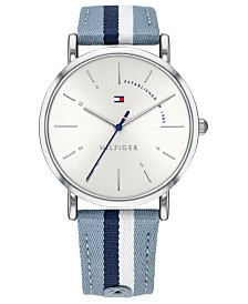 Tommy Hilfiger Women's Blue & White Strap Watch 35mm, Created for Macy's