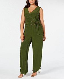Plus Size Faux Wrap Belted Jumpsuit