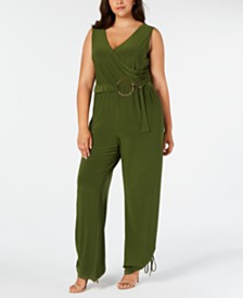 NY Collection Plus Size Faux Wrap Belted Jumpsuit