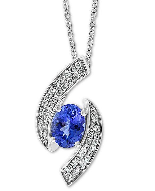 "EFFY Collection EFFY® Tanzanite (1-1/8 ct. t.w.) & Diamond (1/4 ct. t.w.) 18"" Pendant Necklace in 14k White Gold"