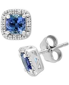 EFFY® Tanzanite (1-1/5 ct. t.w.) & Diamond (1/6 ct. t.w.) Stud Earrings in 14k White Gold