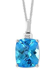 "EFFY® Blue Topaz (6-7/8 ct. t.w.) & Diamond Accent 18"" Pendant Necklace in 14k White Gold"