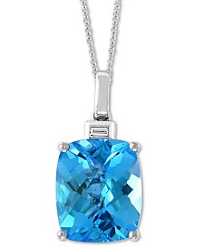 "EFFY® Blue Topaz (6-7/8 ct. t.w.) & Diamond Accent 18"" Pendant Necklace in 14k White Gold"