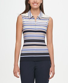 Tommy Hilfiger Striped Zippered Top
