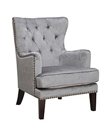 Traditional Contemporary Tufted Nailhead Trim Classic Wingback Accent Chair with Arm