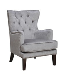 AC Pacific Traditional Contemporary Tufted Nailhead Trim Classic Wingback Accent Chair with Arm