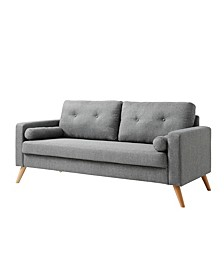 Alvin Mid-Century Modern Button Tufted Polyester Sofa with Accent Pillow