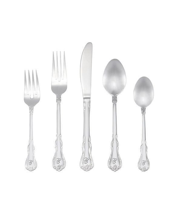 RiverRidge Home Riverridge Bouquet 46 Piece Monogrammed Flatware Set - C, Service for 8