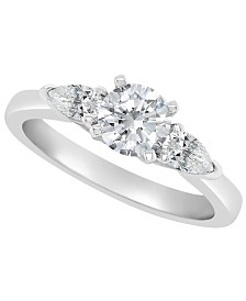 Certified Round Diamond Engagement Ring (1 1/10 ct. t.w.) in Platinum