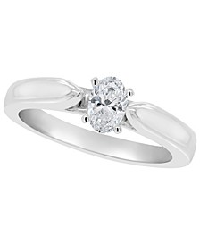 Certified Oval Diamond Solitaire Engagement Ring (1/2 c.t. t.w.) in Platinum