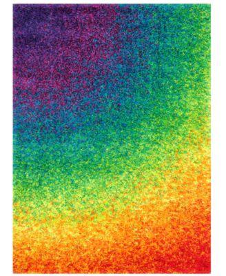 Area Rug, Barcelona Shag BS01 Rainbow 5'2