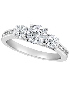 Certified Round Diamond Engagement Ring (1 3/8 ct. t.w.) in 14k White Gold, Rose Gold, or Yellow Gold